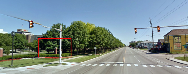 Looking north in the 900 block of S. East Street, Google Street View, 2011