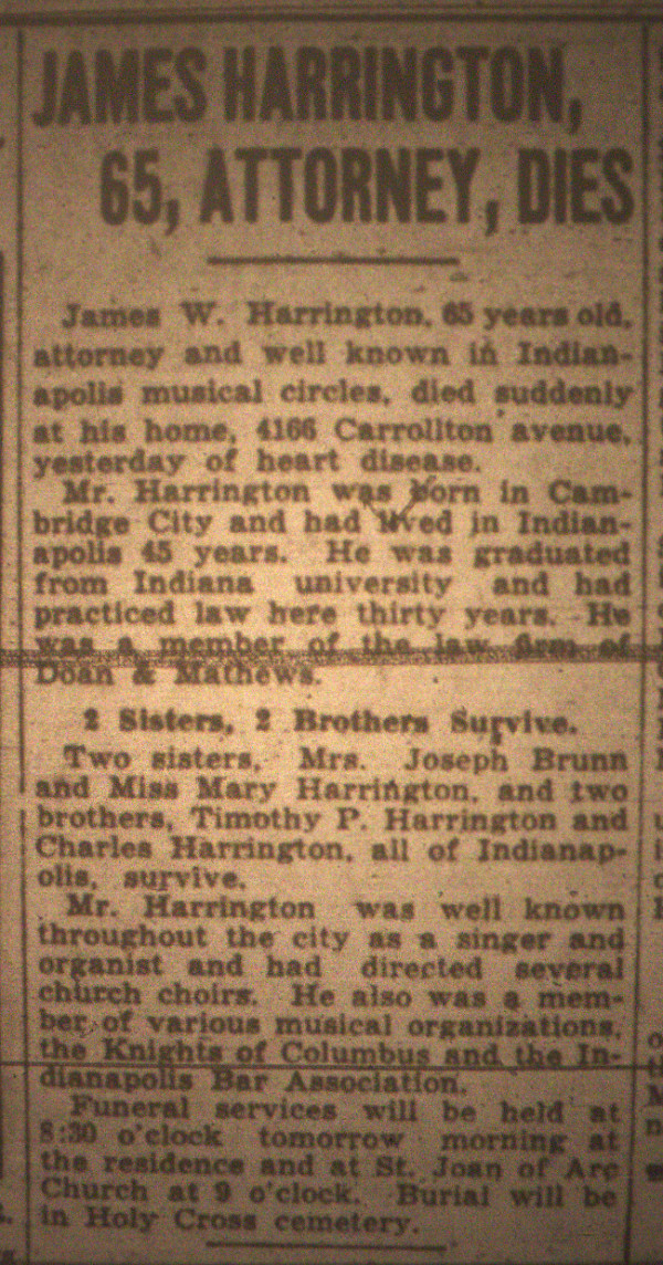 An obituary for James Harrington appeared in The Indianapolis Star on Jan. 1, 1930.