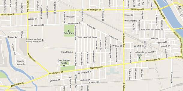 The Hawthorne Neighborhood Association is only a couple of miles west of downtown Indianapolis (map courtesy of Google)