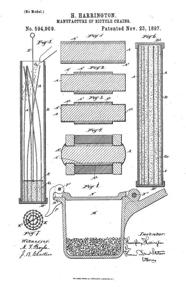 Humphrey Harrington invented, in 1897, a patent for bicycle chains. Humphrey was the factory superintendent of Marvel Carburetor Company.