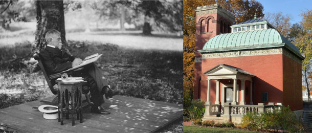 (left) Gen. Lew Wallace at work. (right) his museum in Crawfordsville.