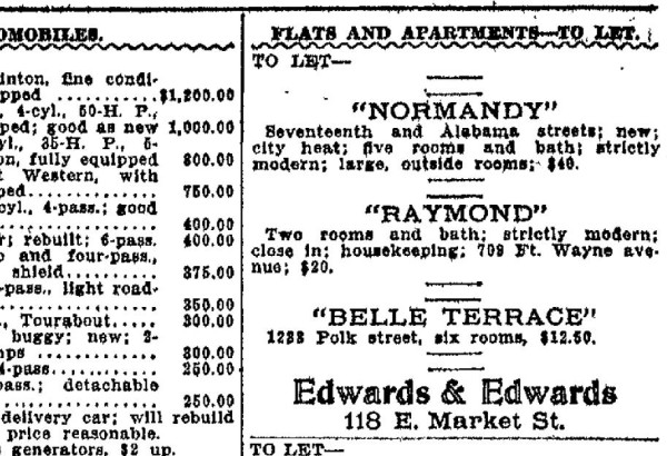 "A Dec. 5, 1909 advertisement published in The Indianapolis Star lists rooms ""for let"" at the Normandy. (courtesy Newspaper Archive)"
