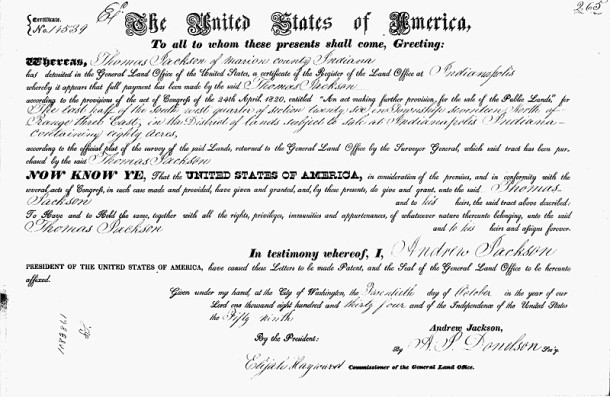 1834 Land Patent shows the purchase from the United States Government