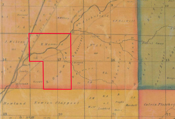 1855 map by Condit,Wright & Hayden shows the land in Section 17 that Rev. Rezin Hammond owned (map courtesy of the Indiana State Library)