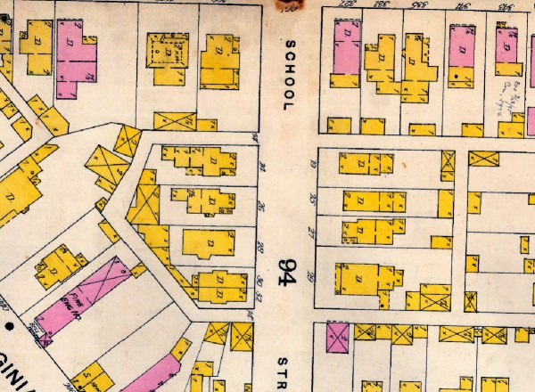 "The 1887 Sanborn Map (updated to 1898) shows that S. Park Ave. was originally named ""School Street."""