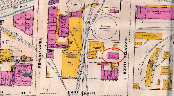 The 1887 Sanborn Map shows that 336 S. Delaware was neighbored by the Elderidge & Co. Lumberyard and the A.B. Meyer & Co. Coal Yard to the east and the Indianapolis Gaslight and Coke Company to the west.