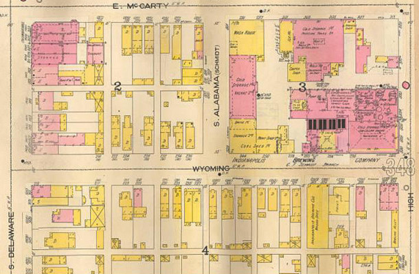 1898 Sanborn map shows the location of High and Wyoming is across the street from C. F. Schmidt (map courtesy of IUPUI Digital Library)