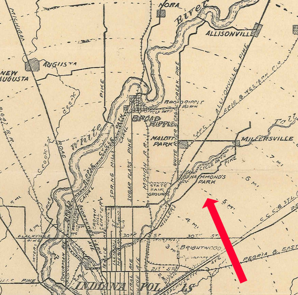 1900 Marion County Bicycle route map shows Hammond's Park on the south side of Fall Creek (scan courtesy of Indiana State Library)
