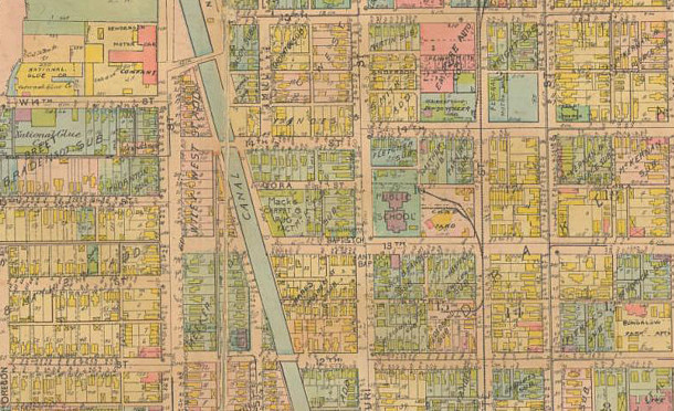 On the 1916 Baist Atlas, the site of the former Henderson Motor Car Company still appeared at 14th and N. West Street (Map courtesy of IUPUI Digital Library)