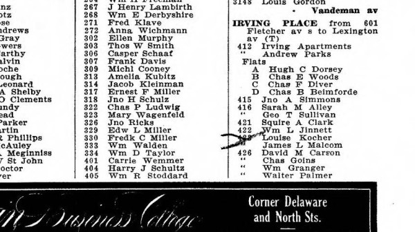 The 1916 city directory lists Squire A. Clark at 421 Irving Place and Louise Kocher at 423 Irving Place. A mark has been made on the city directory near Kocher's name.