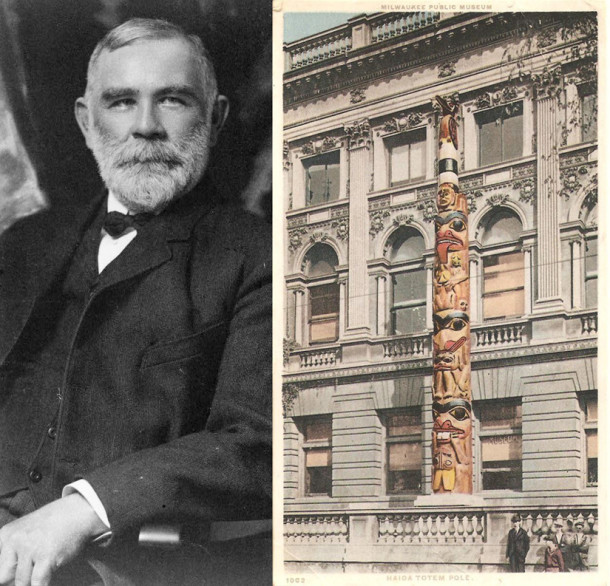 left: Alaskan Governor John Brady, right: vintage postcard of Haida totem outside the Milwaukee Public Museum