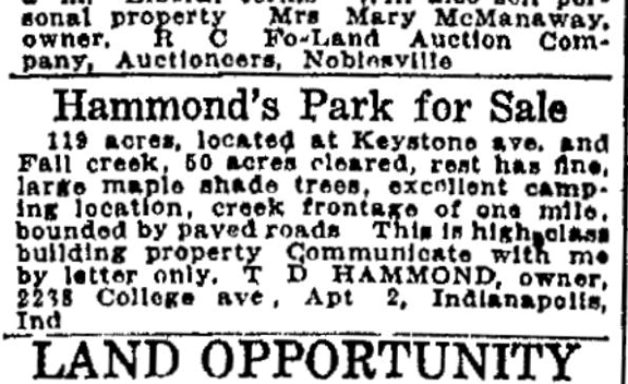 Classified ad that appeared in The Indianapolis Star on December 30, 1921