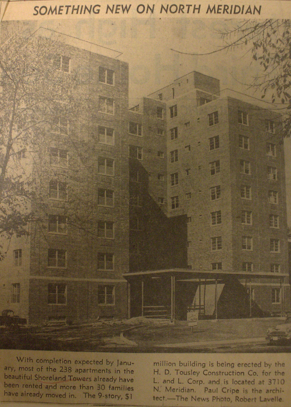 A small feature about Shoreland Towers--a structure that highly resembles the Fontenac Apartments--appeared in The Indianapolis News in Nov. 1951.