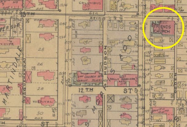 From the Indianapolis Baist Atlas, 1927. The Friends Church highlighted (perhaps excessively so) in yellow.