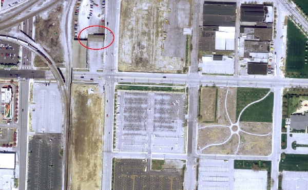2011 satellite image of the intersection of South and Delaware streets (made available through MapIndy)