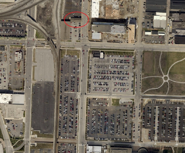 2012 satellite image of the intersection of South and Delaware streets (made available through MapIndy)