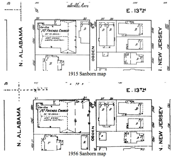 Sandborn map detailing the addition to the original structure.