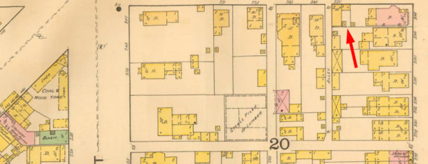 The 1887 Sanborn Map does not show the current building yet (map courtesy IUPUI Digital Library)