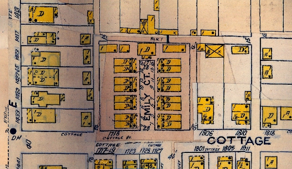 The 1915 Sanborn Map (updated to 1941) is the first Sanborn to exhibit the doubles on Cottage Avenue. A larger home, unit No. 17, was the northernmost residential building on the property. Three carriage houses/garages were located on the back of the property as well.