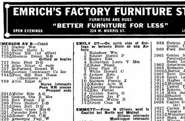 "The 1940 city directory lists ""Harold P. Scheier"" as the occupant of unit No. 2."