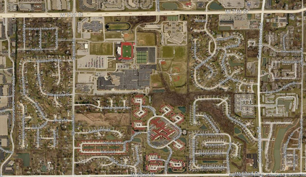 Bird's-eye view of the current Pike High School campus, which has has numerous additions since 1965 (map courtesy of bing)