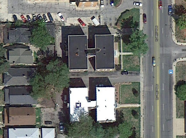 "The Glendower, bottom, and Rensselaer, top, as seen in a satellite image. The buildings are ""twins,"" and have a hallways that stretches through the entire building. There are three staircases: one in the front, one in the back, and one in the middle."