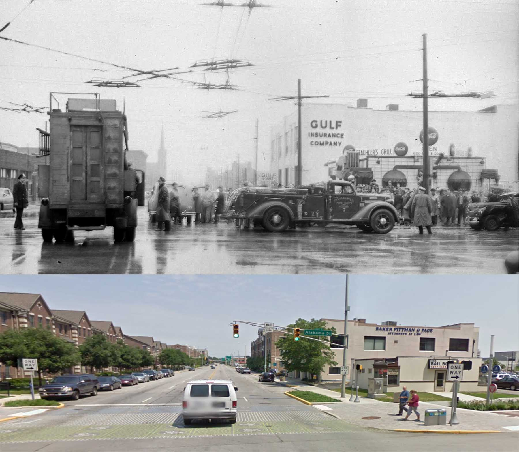 Indianapolis Then and Now: Ohio and Alabama Streets