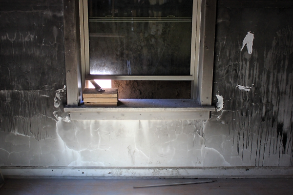 Bedroom window inside the apartment in which the April 27, 2010, fire started. (photo by Dawn Olsen)