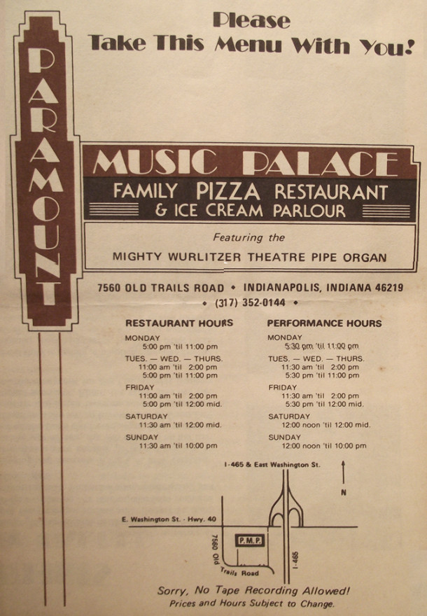 Original paper menu from Paramount recently for sale on eBay.