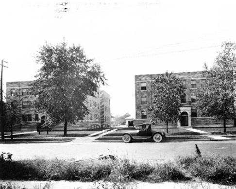 The Glendower Apartments, left, and the Rensselaer Apartments, right, as seen in 1924. (photo courtesy of Bass Photo Company Collection, Indiana Historical Society)