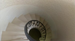 "American Building hidden charms: spiral staircase leading to the ""11th floor"" penthouse."