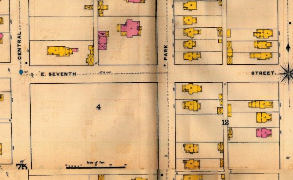 The 1887 Sanborn Map shows that the 1500 block of North Park Avenue is empty of homes. To the north, a large brick residence stands where a Kroger store and its parking lot is now located.
