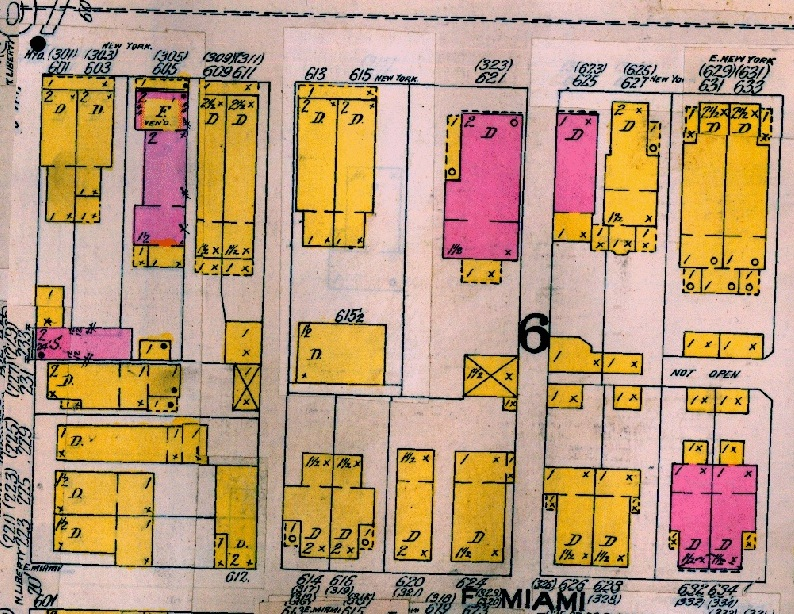 "The 1898 Sanborn Map shows that a double has now been constructed where a single-family home once stood. The double is listed as 613/615 E. New York St. This double is called the ""Andrew Kramer Double Home"" in the Indiana Historic"
