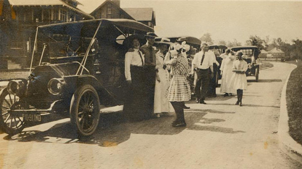 In 1915, an automobile parade was organized by neighbors in the 3100 block of N. Pennsylvania Street (photo courtesy of )