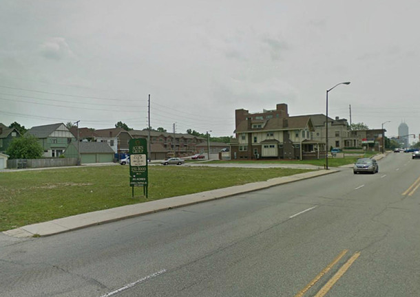 The site of Jong Mea, 1937 N. Meridian Street, is today a vacant lot awaiting new development (image courtesy of Google maps)