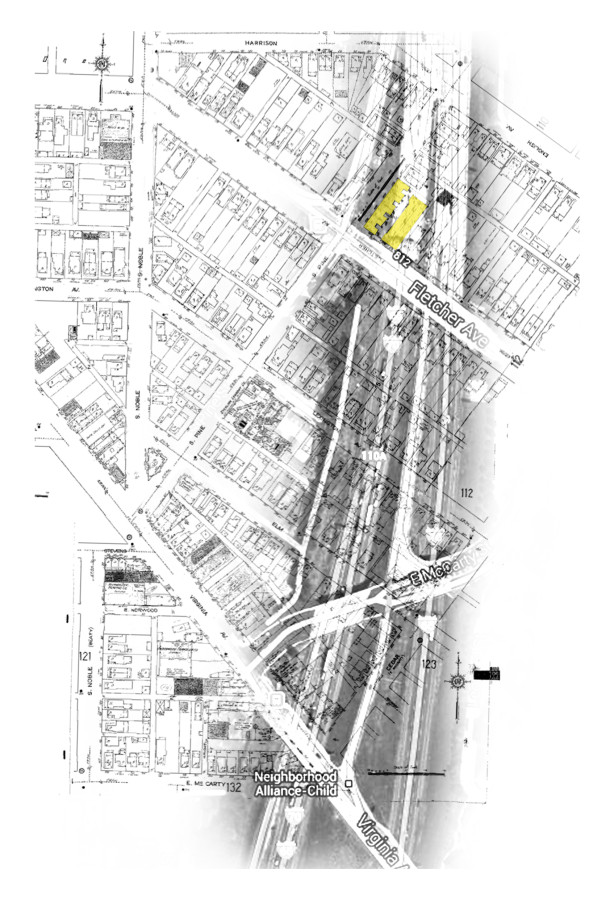 Map of I-65 layered on 1950 Sanborn map; Fletcher Place, Fountain Square; building in yellow is the Pinex