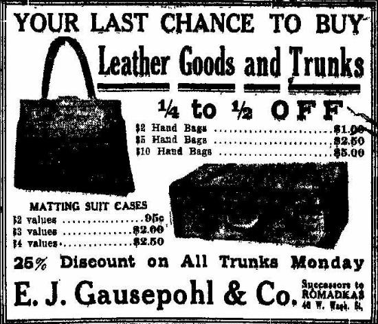 Gausepohl Ad, IndyStar, 9/24/1911