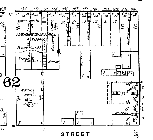 Sanborn Map, 1887, first Heier structure in bottom right corner