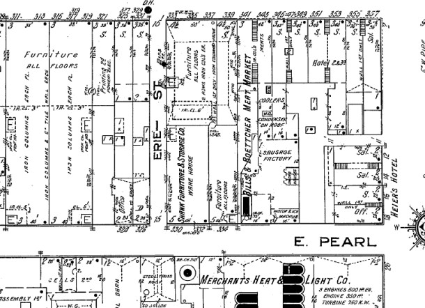Sanborn Map, 1914, Heier structure bottom right corner