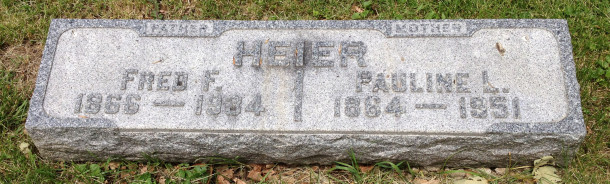 "Marker at Crown Hill, reads ""Father, Fred F. 1866-1934, Mother, Pauline L. 1864-1951,"" 2013, (c) photo by Becki Myers"