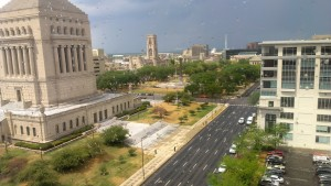 The view from a tenth floor window on a rainy summer day in 2012; it was a pleasure to watch the seasons change the Indiana War Memorial Plaza and University Park.