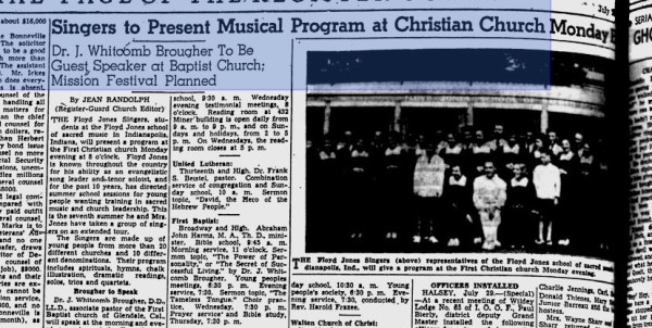 The Floyd Jones Singers traveled about the country with their namesake. When this article appeared in an Oregon newspaper in 1939, Jones, his wife and the singers had already spent six summers touring the States.