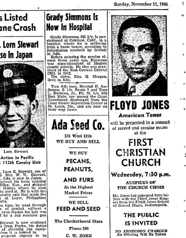 Floyd Jones, who simultaneously resided at 1564 N. Park Ave. while it was used as a music school, was known nationwide. He often toured the country. Here, a public invitation to a concert appears in an Oklahoma newspaper.