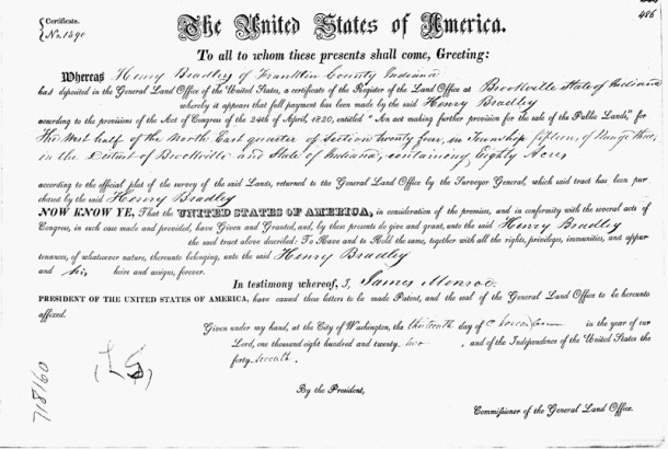1922 Deed from the United States of America to Henry Bradley (san courtesy of Ancestry.com)