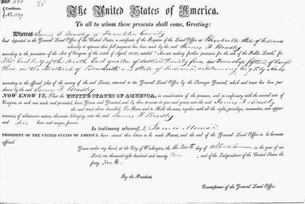 1922 Deed from the United States of America to James F. Bradley (scan courtesy of Anextry.com)