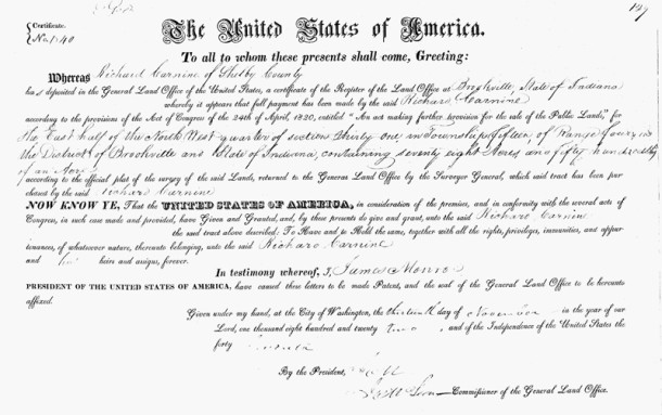 1922 Land Patent from the United States to Richard Carnine (image courtesy of Ancestry.com)