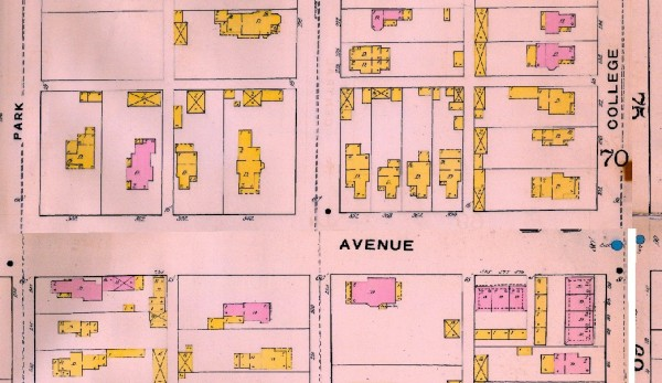 "The 1887 Sanborn Map shows that the area was quite developed. At the time, 13th Street was known as ""Home Avenue."" Because of the home's corner location, Voss and Shortridge's former home has had addresses that have included 13th Street, Broadway, and Home. Here, the Map shows the address being ""352 Home Ave."" In earlier city directories, however, the home was listed as ""358 Home Ave."""