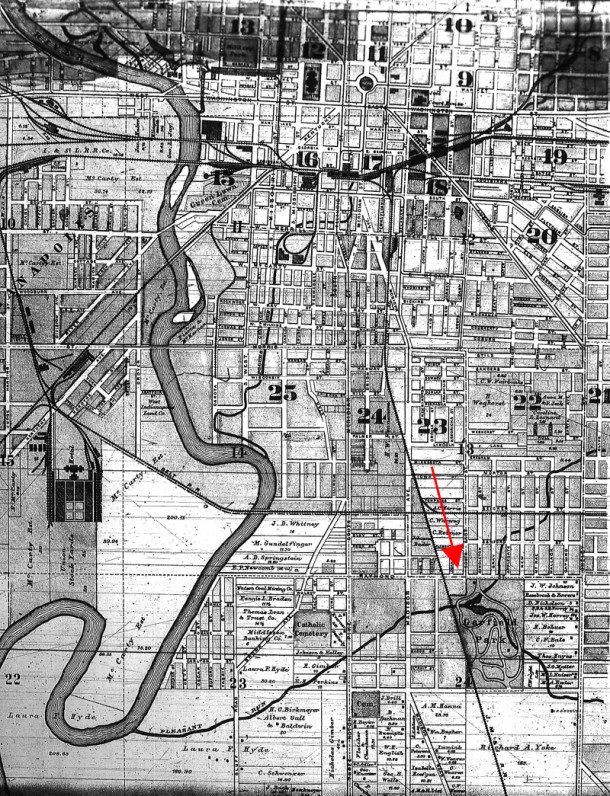 An 1889 Map of Center Township show that many of the streets around Garfield Park were already laid out by that year (map courtesy of the Indiana State Library)