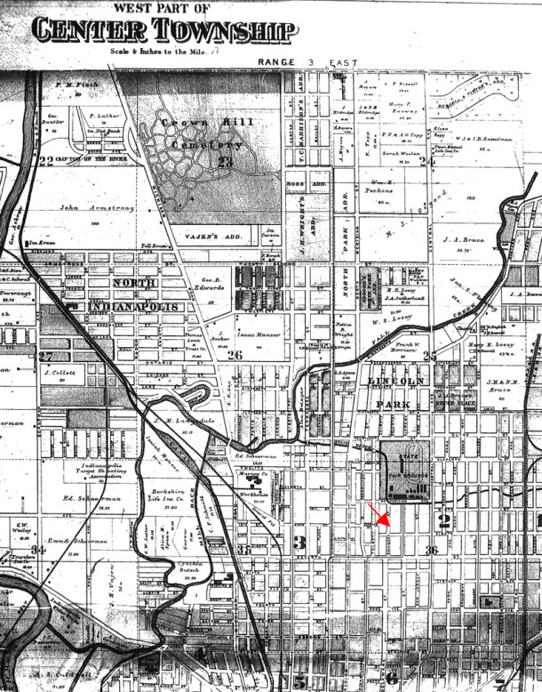 Red arrow indicates the location of 1713 north Delaware Street (map courtesy of the Indiana State Library)