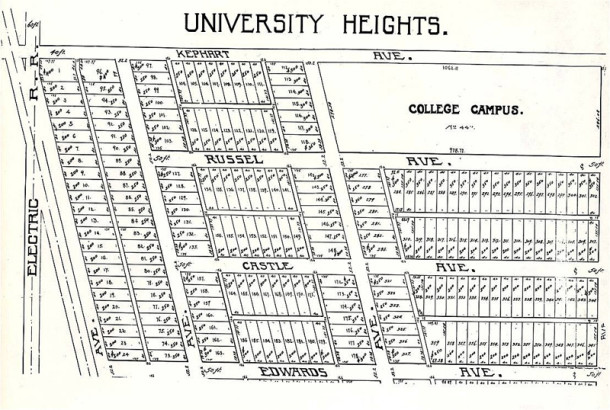 Early map of University Heights show former street names